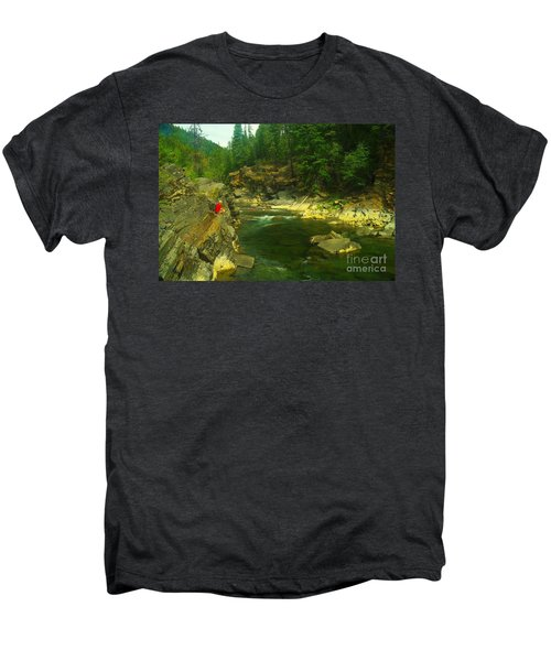 Cliff Over The Yak River Men's Premium T-Shirt by Jeff Swan