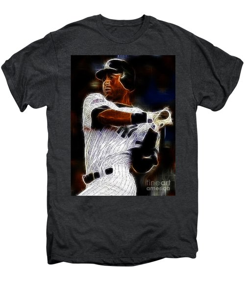 Derek Jeter New York Yankee Men's Premium T-Shirt by Paul Ward