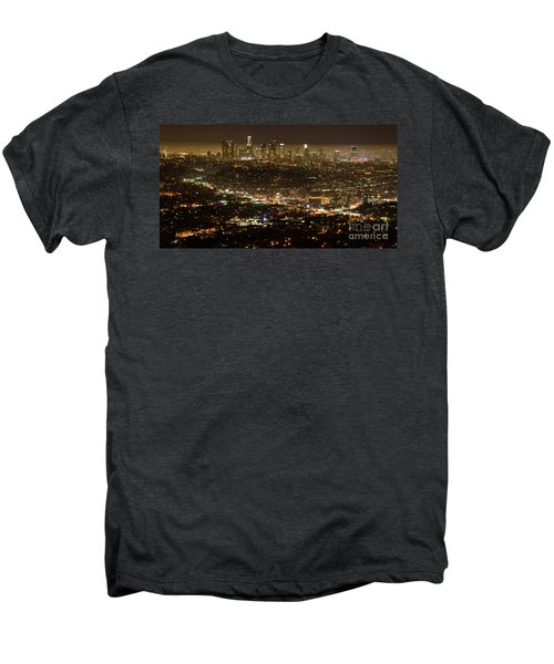 Los Angeles  City View At Night  Men's Premium T-Shirt by Bob Christopher