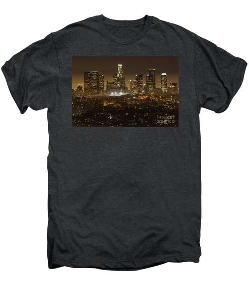 Los Angeles Skyline At Night Men's Premium T-Shirt by Bob Christopher