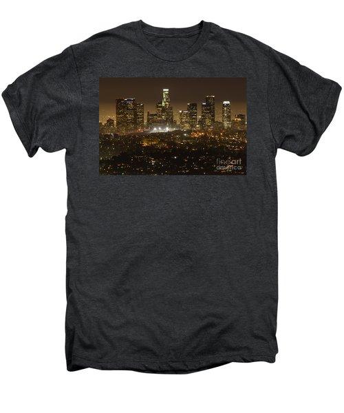 Los Angeles Skyline At Night Men's Premium T-Shirt by Bob Christopher