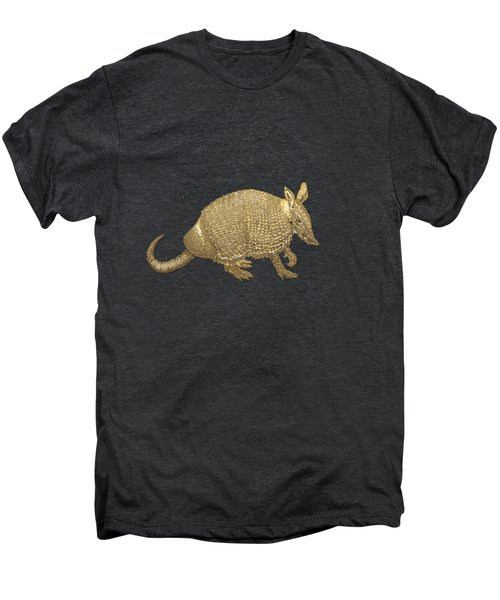 Gold Armadillo On Black Canvas Men's Premium T-Shirt by Serge Averbukh