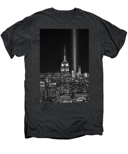 New York City Tribute In Lights Empire State Building Manhattan At Night Nyc Men's Premium T-Shirt by Jon Holiday