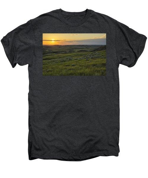 Sunset Over Killdeer Badlands Men's Premium T-Shirt by Robert Postma