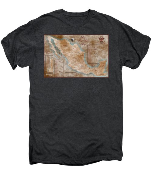 Mexico Surf Map  Men's Premium T-Shirt by Lucan Hirales