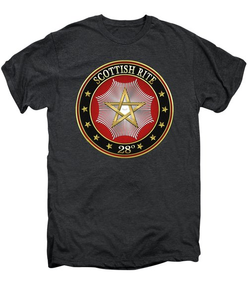 28th Degree - Knight Commander Of The Temple Jewel On Black Leather Men's Premium T-Shirt by Serge Averbukh