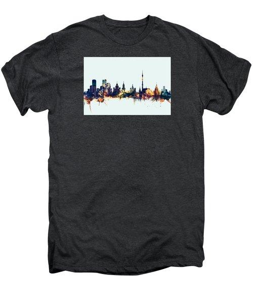 Moscow Russia Skyline Men's Premium T-Shirt by Michael Tompsett
