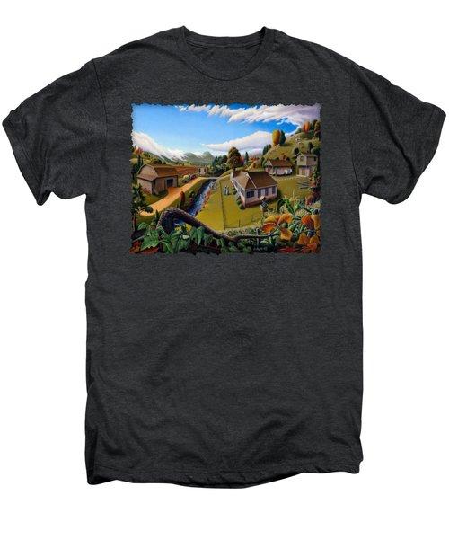 Appalachia Summer Farming Landscape - Appalachian Country Farm Life Scene - Rural Americana Men's Premium T-Shirt by Walt Curlee