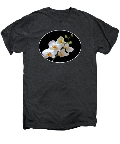 White Orchids On Black Men's Premium T-Shirt by Gill Billington