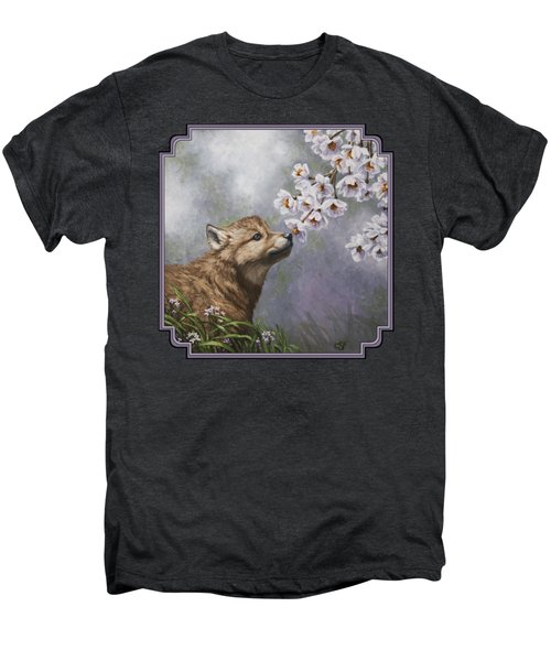 Wolf Pup - Baby Blossoms Men's Premium T-Shirt by Crista Forest