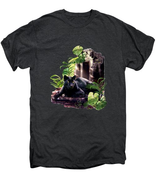 Black Panther Custodian Of Ancient Temple Ruins  Men's Premium T-Shirt by Regina Femrite