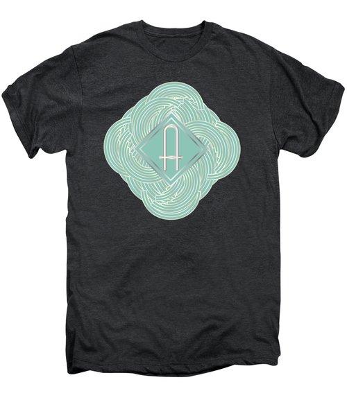 1920s Blue Deco Jazz Swing Monogram ...letter A Men's Premium T-Shirt by Cecely Bloom