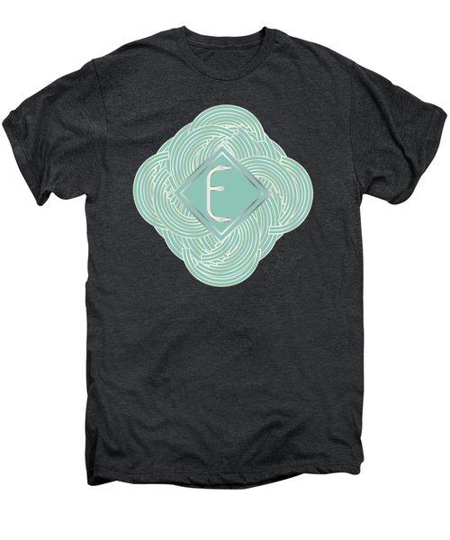 1920s Blue Deco Jazz Swing Monogram ...letter E Men's Premium T-Shirt by Cecely Bloom