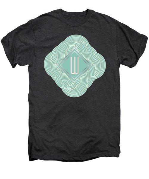 1920s Blue Deco Jazz Swing Monogram ...letter W Men's Premium T-Shirt by Cecely Bloom