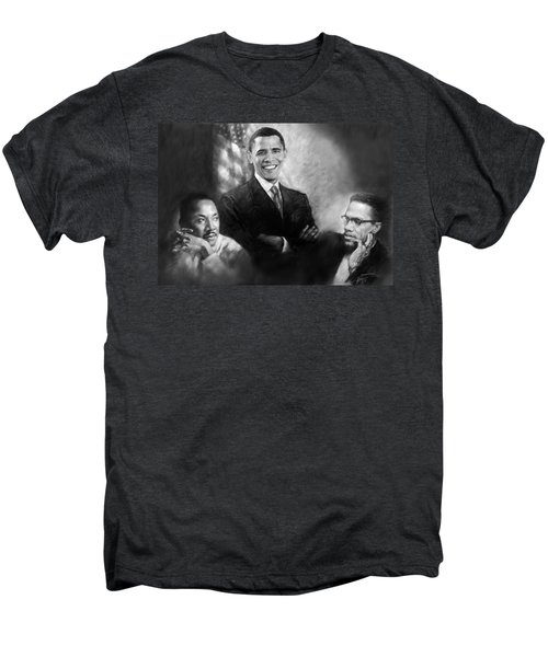 Barack Obama Martin Luther King Jr And Malcolm X Men's Premium T-Shirt by Ylli Haruni