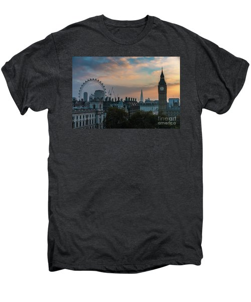 Big Ben Shard And London Eye Sunrise Men's Premium T-Shirt by Mike Reid