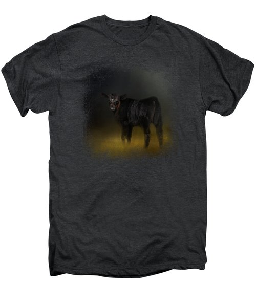 Black Angus Calf In The Moonlight Men's Premium T-Shirt by Jai Johnson