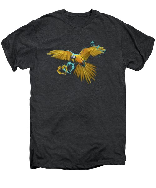 Colorful Blue And Yellow Macaw Men's Premium T-Shirt by iMia dEsigN