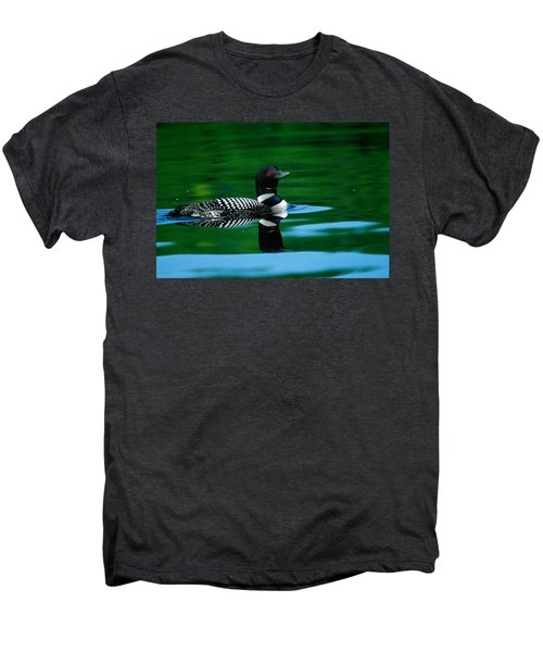 Common Loon In Water, Michigan, Usa Men's Premium T-Shirt by Panoramic Images