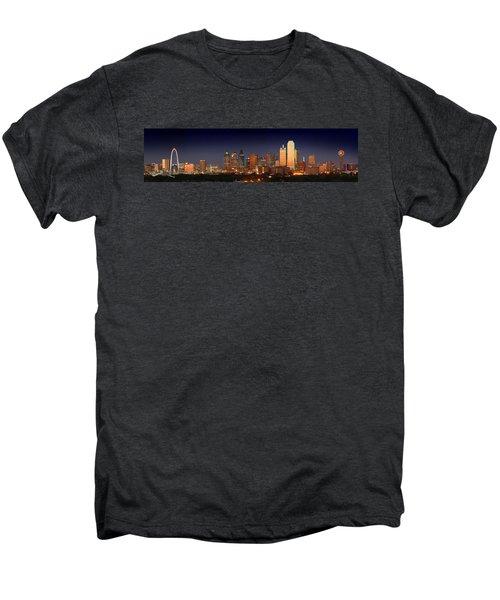 Dallas Skyline At Dusk  Men's Premium T-Shirt by Jon Holiday