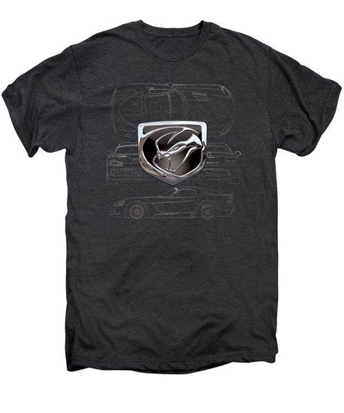 Dodge Viper  3 D  Badge Over Dodge Viper S R T 10 Silver Blueprint On Black Special Edition Men's Premium T-Shirt by Serge Averbukh
