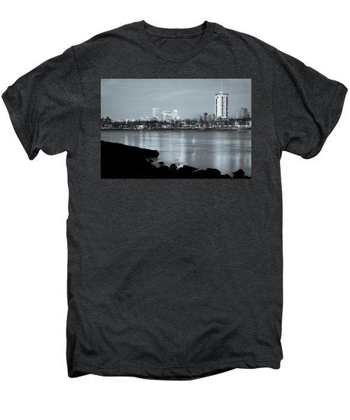 Downtown Tulsa Oklahoma - University Tower View - Black And White Men's Premium T-Shirt by Gregory Ballos