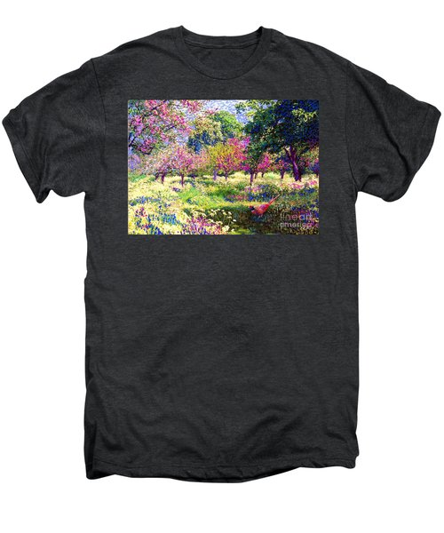 Echoes From Heaven, Spring Orchard Blossom And Pheasant Men's Premium T-Shirt by Jane Small