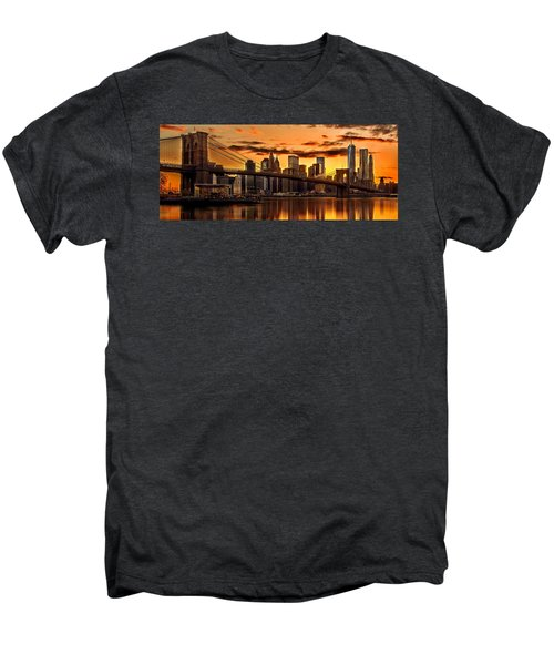 Fiery Sunset Over Manhattan  Men's Premium T-Shirt by Az Jackson