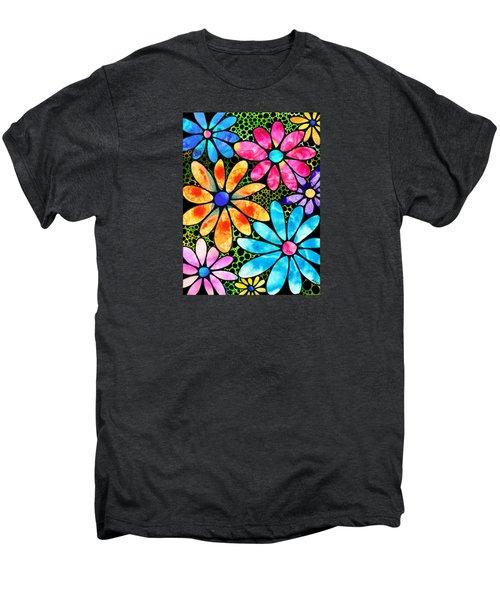 Floral Art - Big Flower Love - Sharon Cummings Men's Premium T-Shirt by Sharon Cummings