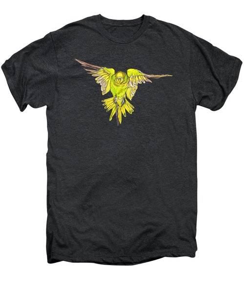 Flying Budgie Men's Premium T-Shirt by Lorraine Kelly