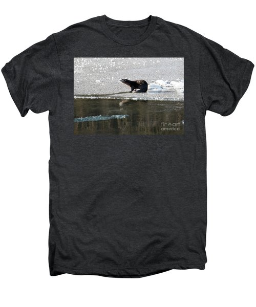 Frosty River Otter  Men's Premium T-Shirt by Mike Dawson