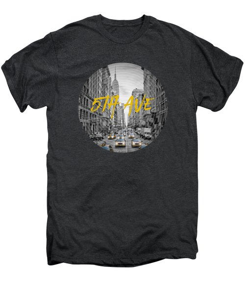 Graphic Art Nyc 5th Avenue Yellow Cabs Men's Premium T-Shirt by Melanie Viola