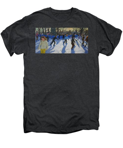 Ice Skaters At Christmas Fayre In Hyde Park  London Men's Premium T-Shirt by Andrew Macara