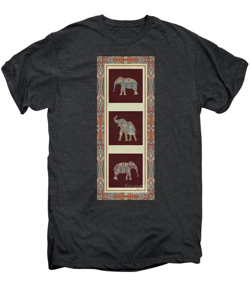 Kashmir Elephants - Vintage Style Patterned Tribal Boho Chic Art Men's Premium T-Shirt by Audrey Jeanne Roberts