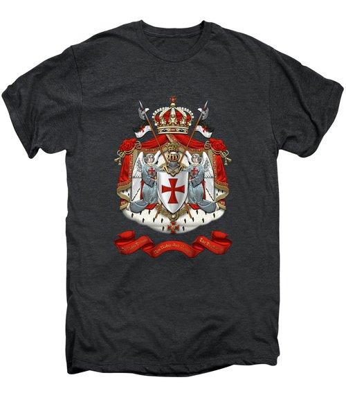 Knights Templar - Coat Of Arms Over Black Velvet Men's Premium T-Shirt by Serge Averbukh
