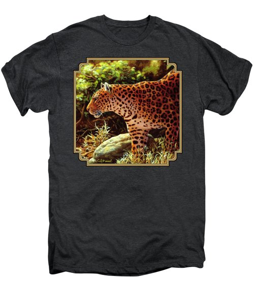 Leopard Painting - On The Prowl Men's Premium T-Shirt by Crista Forest