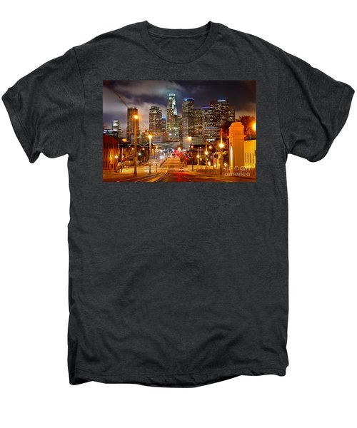Los Angeles Skyline Night From The East Men's Premium T-Shirt by Jon Holiday