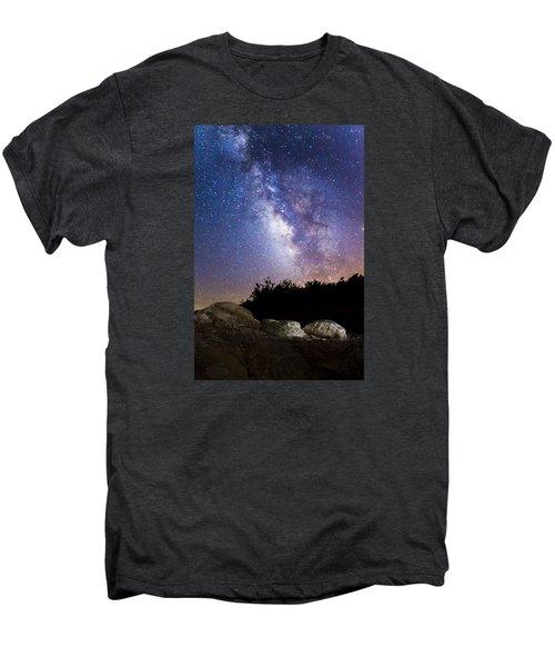 Milky Way Over A Western Diamondback Rattlesnake Men's Premium T-Shirt by Chuck Brown
