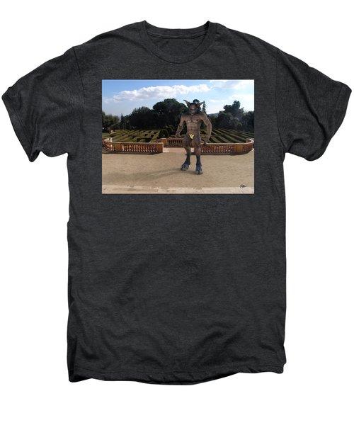 Minotaur In The Labyrinth Park Barcelona. Men's Premium T-Shirt by Joaquin Abella