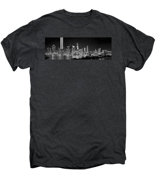 New York City Bw Tribute In Lights And Lower Manhattan At Night Black And White Nyc Men's Premium T-Shirt by Jon Holiday