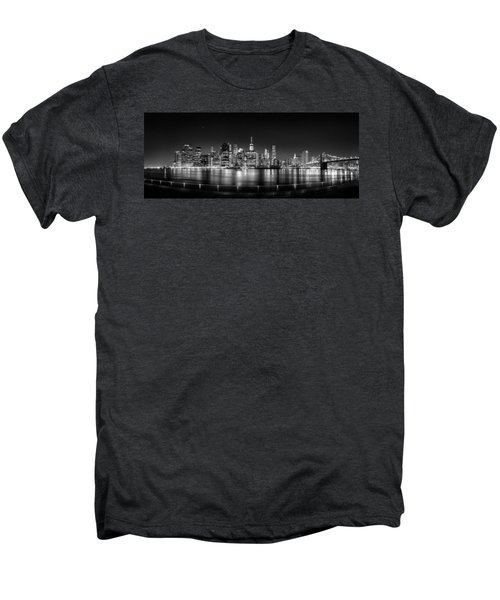 New York City Skyline Panorama At Night Bw Men's Premium T-Shirt by Az Jackson