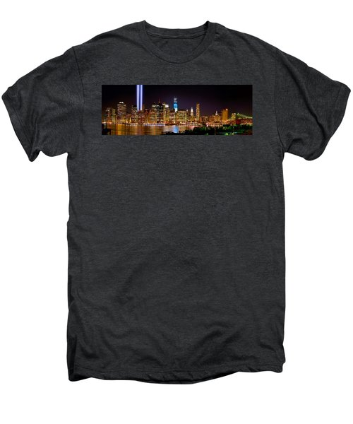 New York City Tribute In Lights And Lower Manhattan At Night Nyc Men's Premium T-Shirt by Jon Holiday