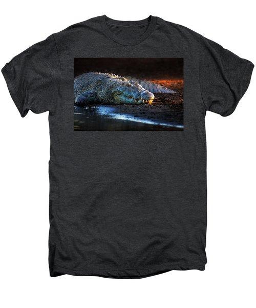 Nile Crocodile On Riverbank-1 Men's Premium T-Shirt by Johan Swanepoel