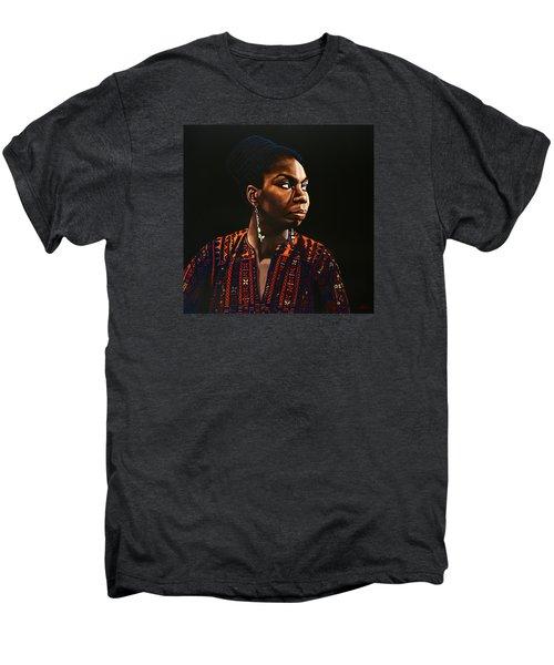 Nina Simone Painting Men's Premium T-Shirt by Paul Meijering