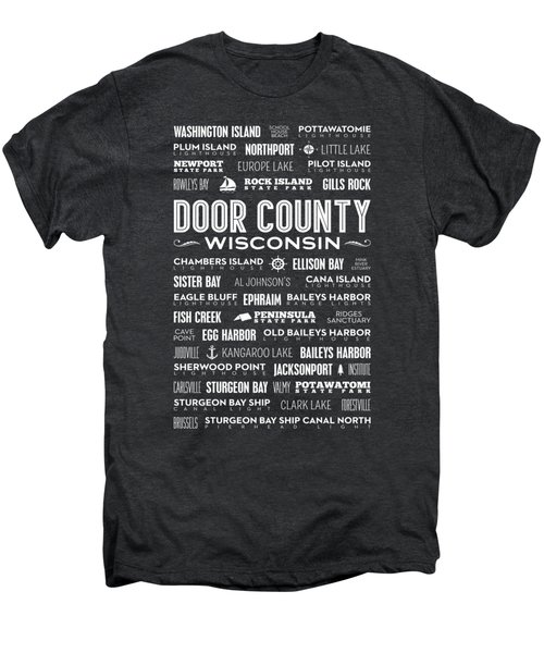 Places Of Door County On Black Men's Premium T-Shirt by Christopher Arndt
