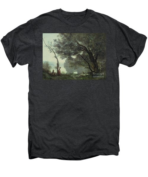 Recollections Of Mortefontaine Men's Premium T-Shirt by Jean Baptiste Corot