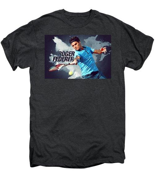 Roger Federer Men's Premium T-Shirt by Semih Yurdabak