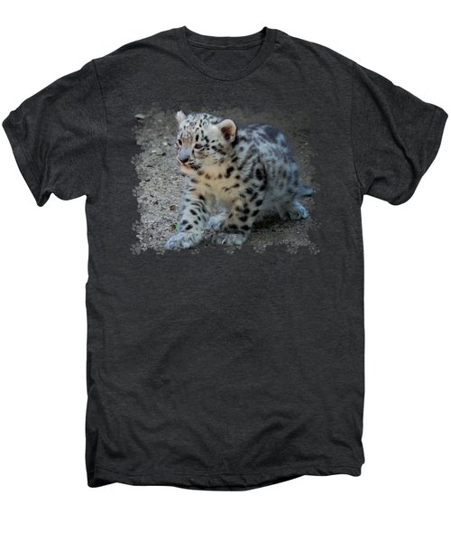 Snow Leopard Cub Paws Border Men's Premium T-Shirt by Terry DeLuco