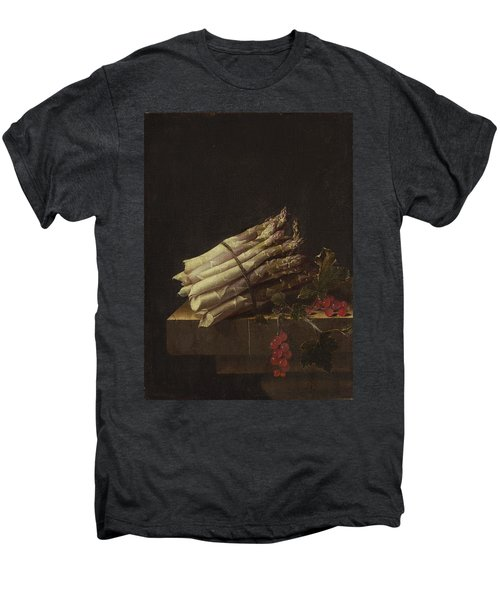 Still Life With Asparagus And Red Currants Men's Premium T-Shirt by Adriaen Coorte