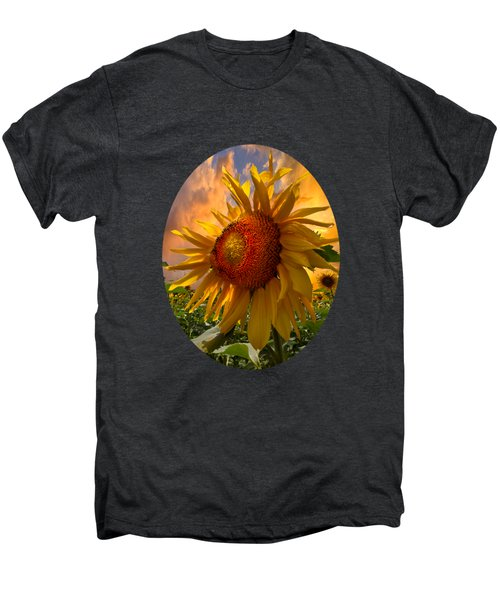 Sunflower Dawn In Oval Men's Premium T-Shirt by Debra and Dave Vanderlaan
